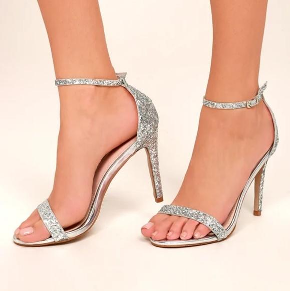 Silver Glitter Ankle Strap Heels